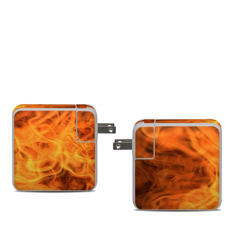 Apple 61W USB-C Power Adapter Skin design of Flame, Fire, Heat, Orange with red, orange, black colors