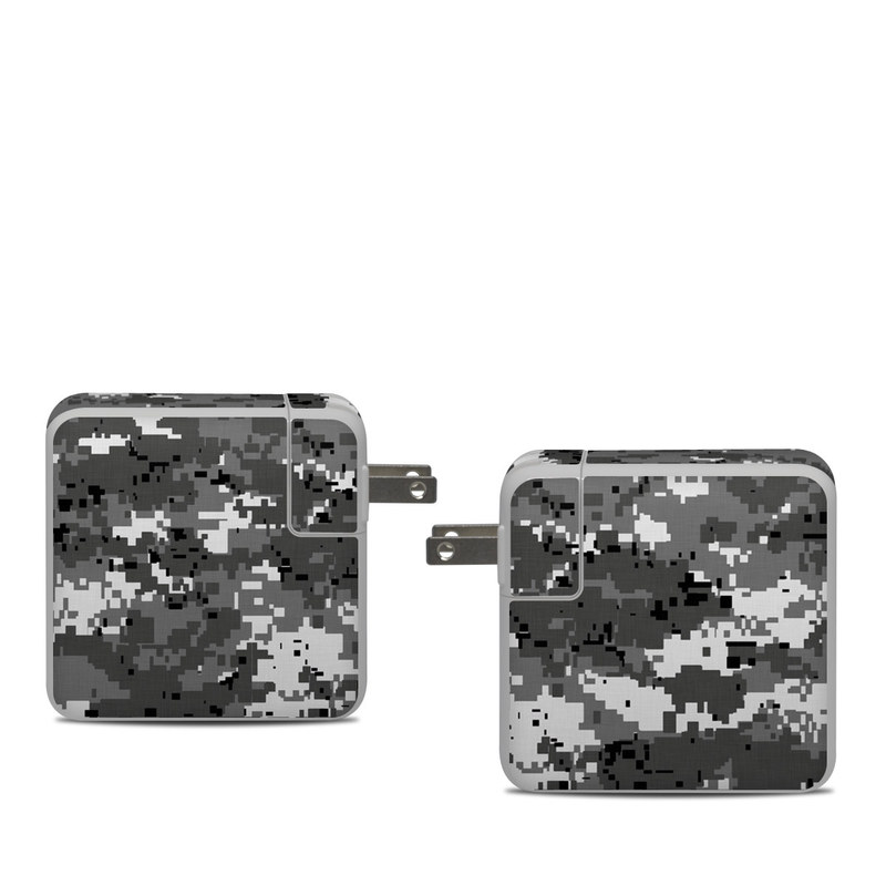 Apple 61W USB-C Power Adapter Skin design of Military camouflage, Pattern, Camouflage, Design, Uniform, Metal, Black-and-white with black, gray colors