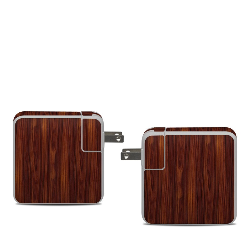 Apple 61W USB-C Power Adapter Skin design of Wood, Red, Brown, Hardwood, Wood flooring, Wood stain, Caramel color, Laminate flooring, Flooring, Varnish with black, red colors