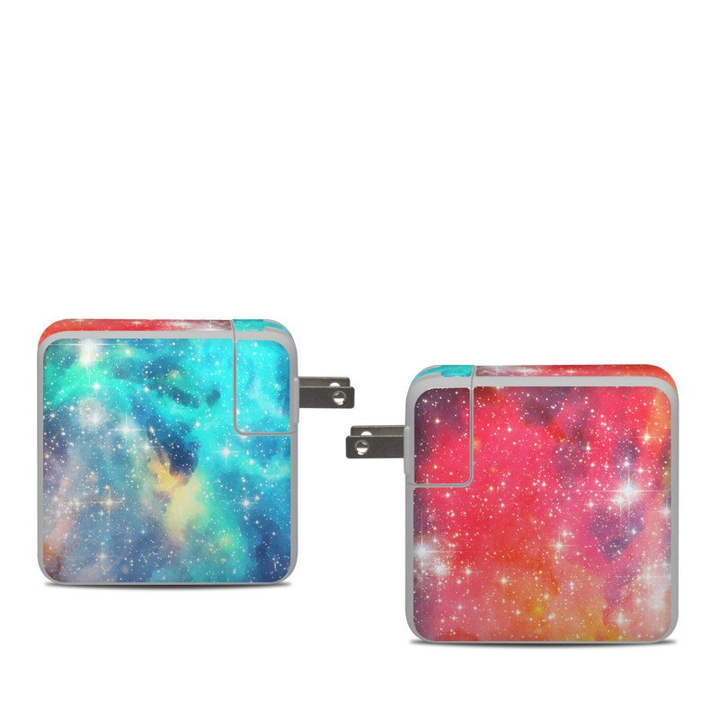 Apple 61W USB-C Power Adapter Skin design of Nebula, Sky, Astronomical object, Outer space, Atmosphere, Universe, Space, Galaxy, Celestial event, Star with white, black, red, orange, yellow, blue colors