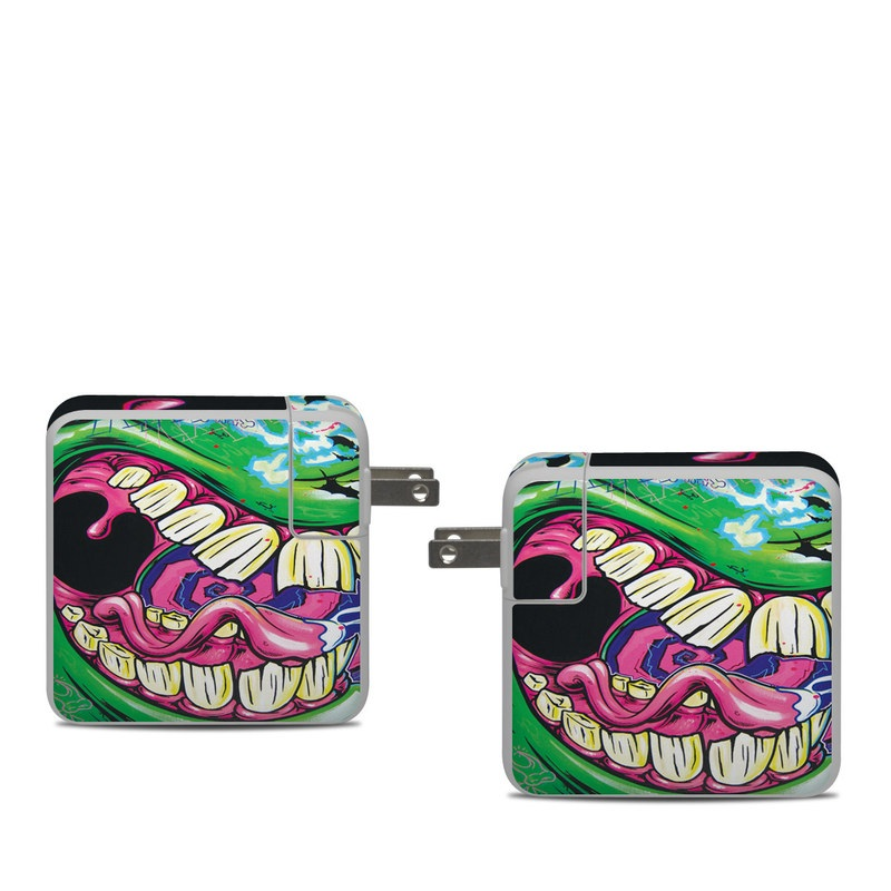 Apple 61W USB-C Power Adapter Skin design of Graffiti, Psychedelic art, Art, Street art, Fictional character with black, purple, gray, green, blue, yellow colors