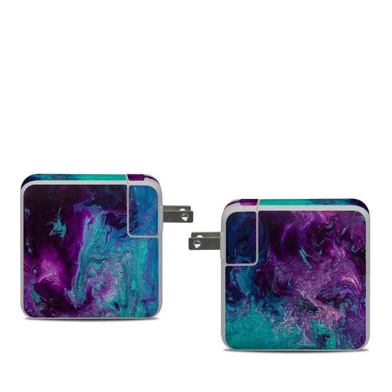 Apple 61W USB-C Power Adapter Skin design of Blue, Purple, Violet, Water, Turquoise, Aqua, Pink, Magenta, Teal, Electric blue with blue, purple, black colors