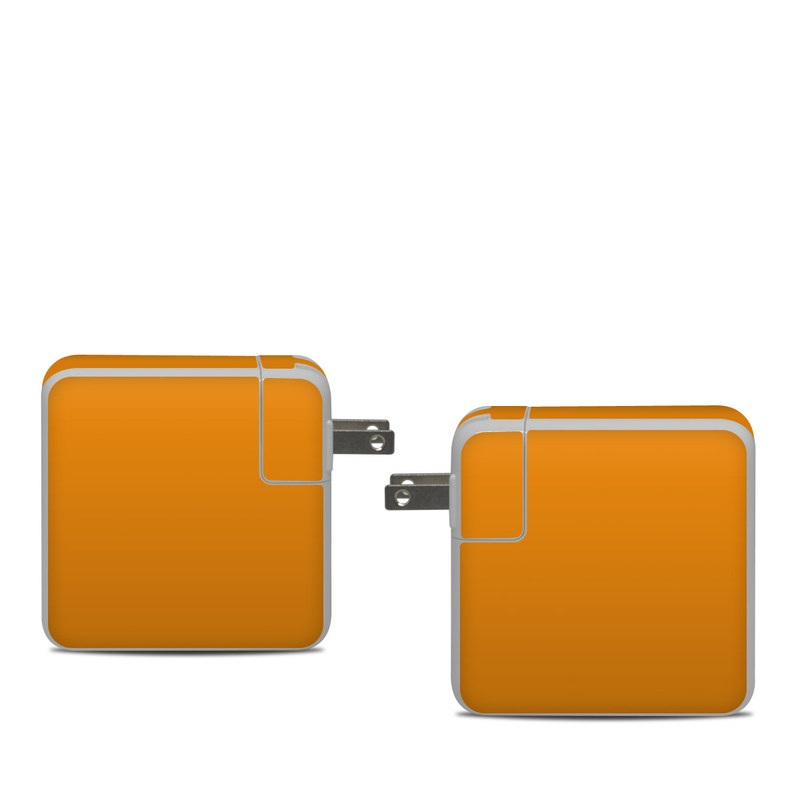Apple 61W USB-C Power Adapter Skin design of Orange, Yellow, Brown, Text, Amber, Font, Peach with orange colors