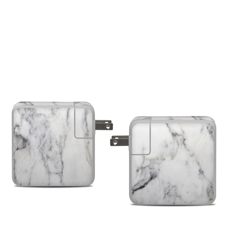 Apple 61W USB-C Power Adapter Skin design of White, Geological phenomenon, Marble, Black-and-white, Freezing with white, black, gray colors