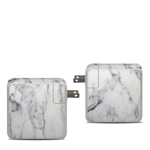 White Marble Apple 87W USB-C Power Adapter Skin