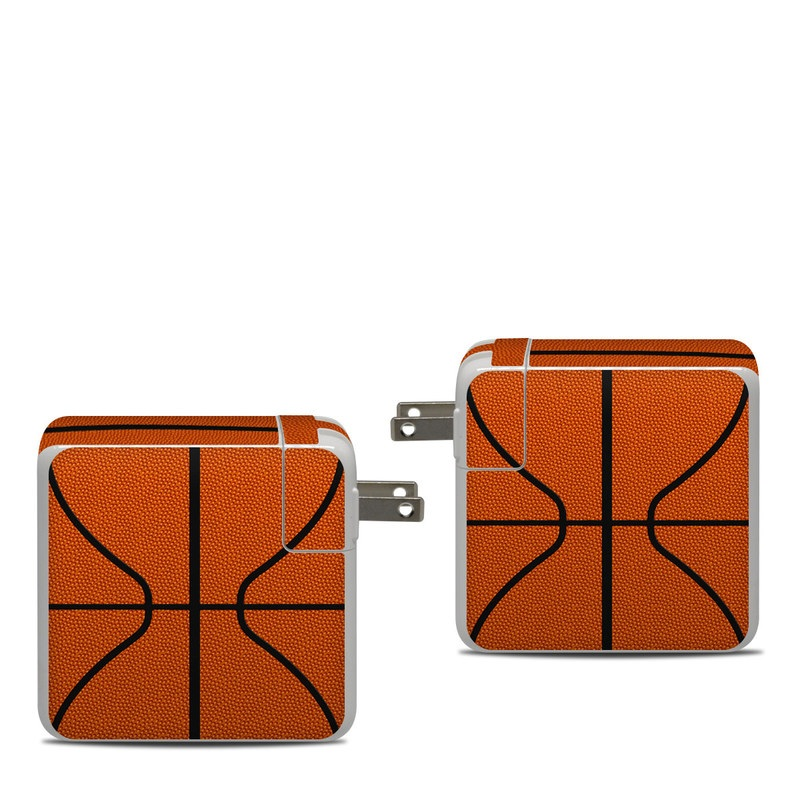 Apple 87W USB-C Power Adapter Skin design of Orange, Basketball, Line, Pattern, Sport venue, Brown, Yellow, Design, Net, Team sport with orange, black colors