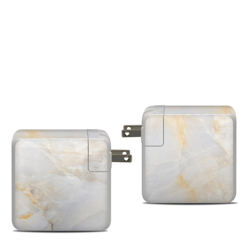Apple 87W USB-C Power Adapter Skin design of White, Textile, Flooring, Marble, Paper, Pattern, Fashion accessory, Tile with white, orange, black, yellow colors