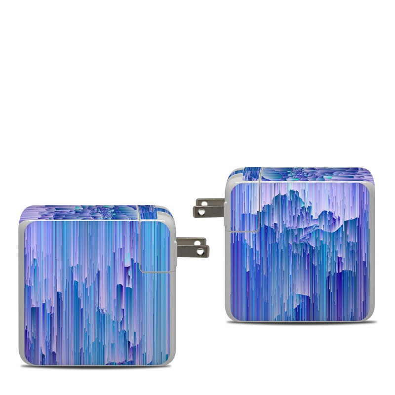 Apple 87W USB-C Power Adapter Skin design of Blue, Purple, Lavender, Ice with blue, purple colors