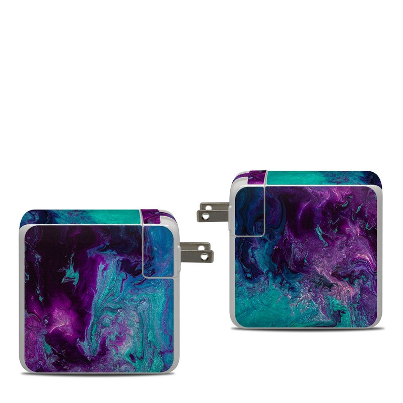 Apple 87W USB-C Power Adapter Skin design of Blue, Purple, Violet, Water, Turquoise, Aqua, Pink, Magenta, Teal, Electric blue with blue, purple, black colors