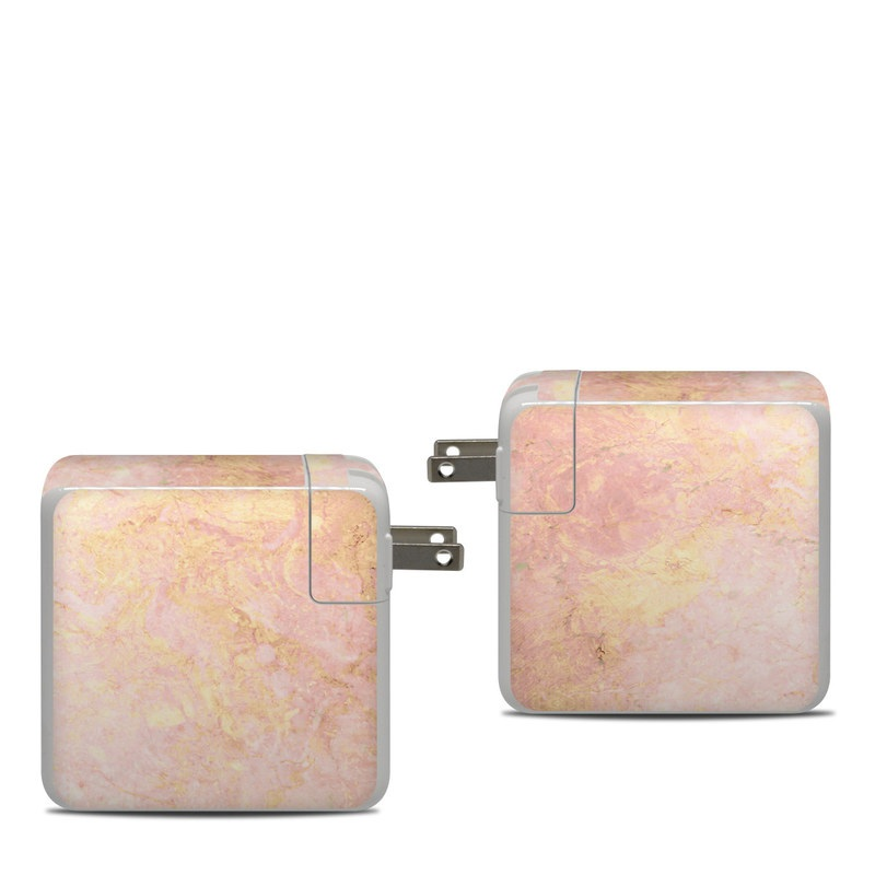 Apple 87W USB-C Power Adapter Skin design of Pink, Peach, Wallpaper, Pattern with pink, yellow, orange colors