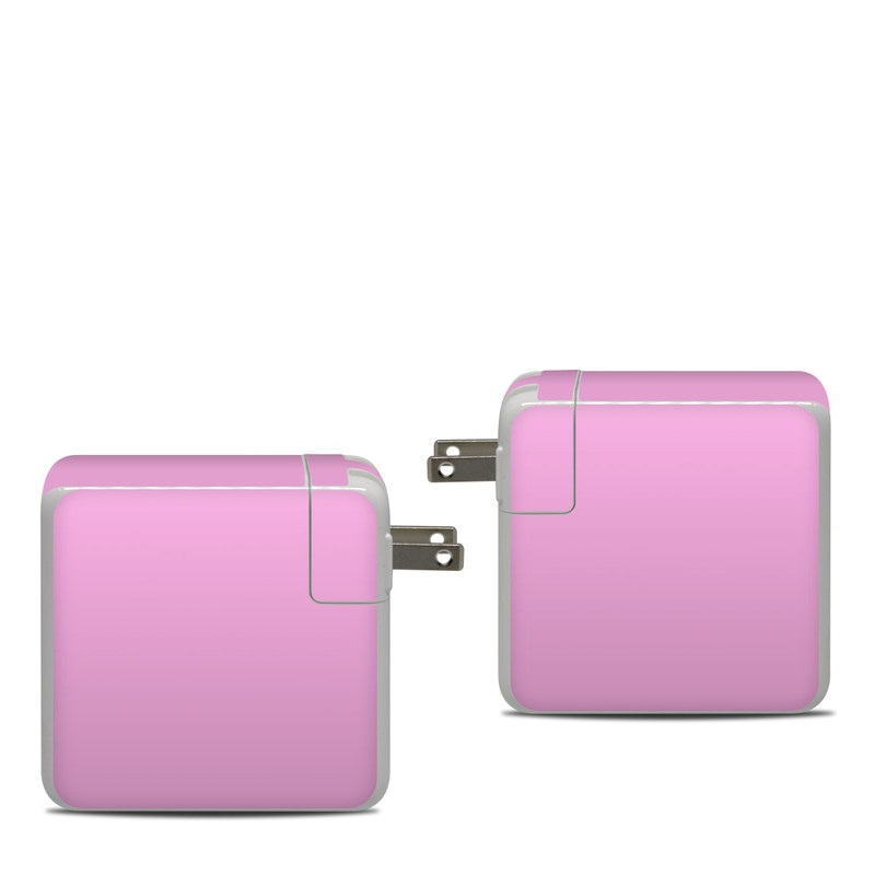 Apple 87W USB-C Power Adapter Skin design of Pink, Violet, Purple, Red, Magenta, Lilac, Sky, Material property, Peach with pink colors