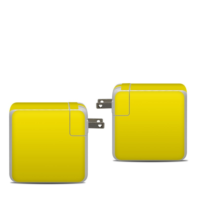 Apple 87W USB-C Power Adapter Skin design of Green, Yellow, Orange, Text, Font with yellow colors