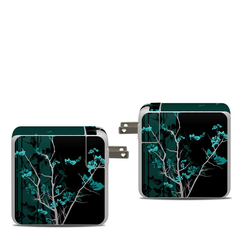 Apple 87W USB-C Power Adapter Skin design of Branch, Black, Blue, Green, Turquoise, Teal, Tree, Plant, Graphic design, Twig with black, blue, gray colors