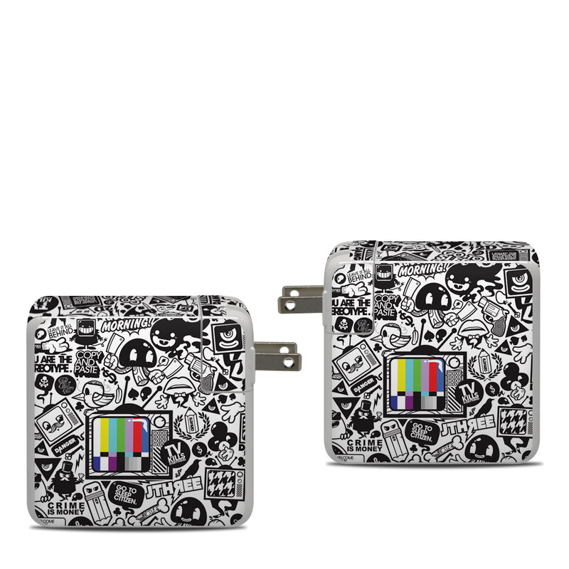 Apple 87W USB-C Power Adapter Skin design of Pattern, Drawing, Doodle, Design, Visual arts, Font, Black-and-white, Monochrome, Illustration, Art with gray, black, white colors