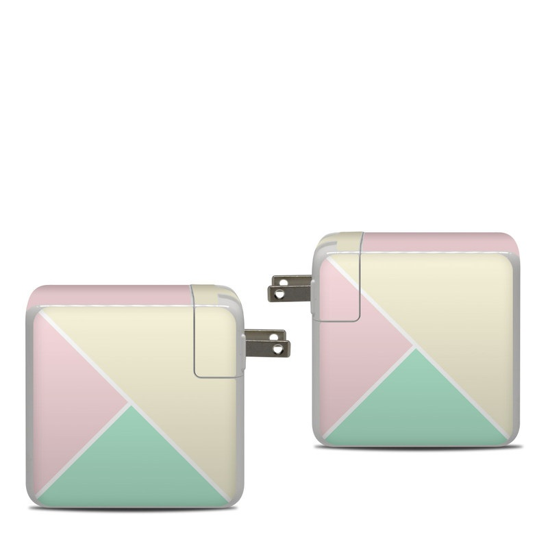 Apple 87W USB-C Power Adapter Skin design of Green, Aqua, Turquoise, Blue, Pink, Yellow, Line, Teal, Pattern, Design with yellow, pink, green colors