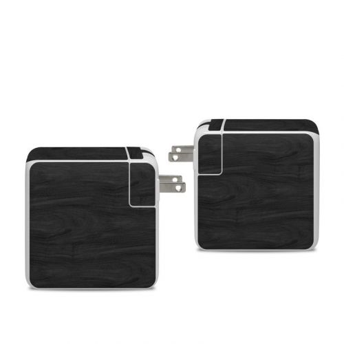 Black Woodgrain Apple 96W USB-C Power Adapter Skin