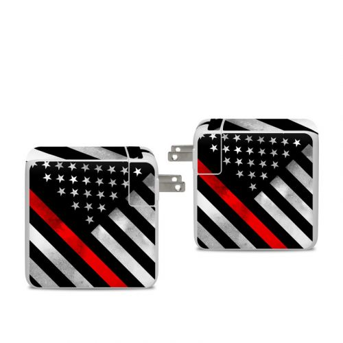 Thin Red Line Hero Apple 96W USB-C Power Adapter Skin