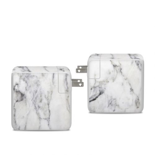 White Marble Apple 96W USB-C Power Adapter Skin