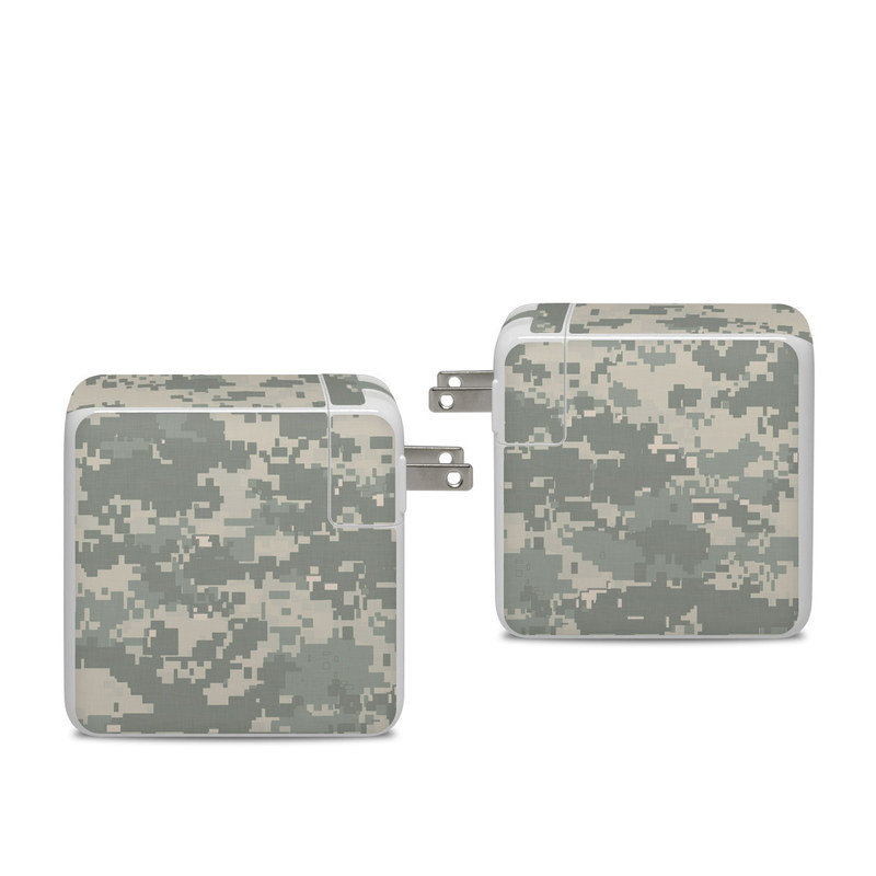 Apple 96W USB-C Power Adapter Skin design of Military camouflage, Green, Pattern, Uniform, Camouflage, Design, Wallpaper with gray, green colors