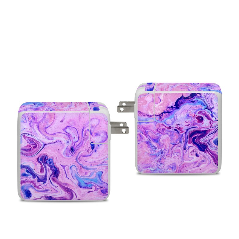 Apple 96W USB-C Power Adapter Skin design of Purple, Violet, Lilac, Art, Pattern, Modern art, Painting, Visual arts, Acrylic paint, Magenta with pink, purple, blue colors