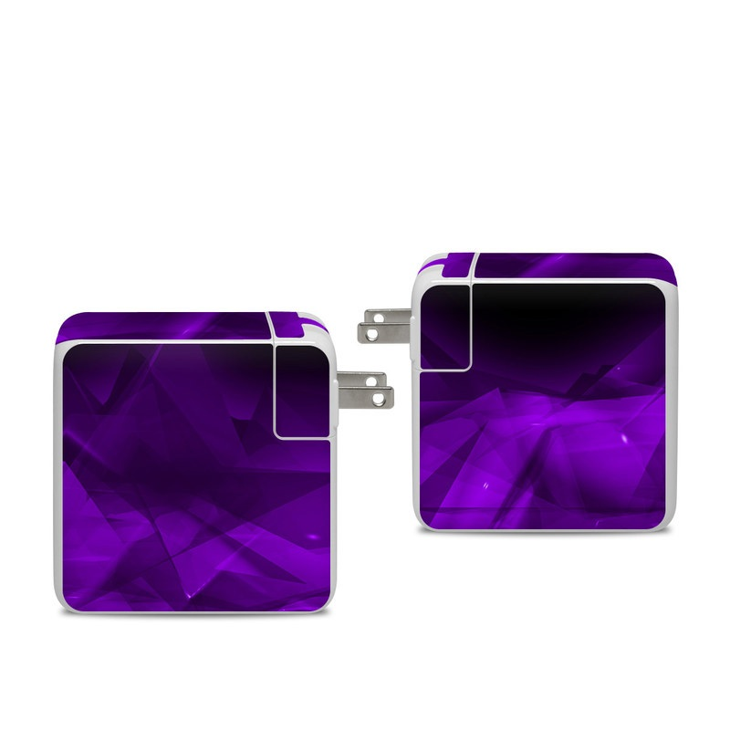 Apple 96W USB-C Power Adapter Skin design of Violet, Purple, Pink, Magenta, Blue, Light, Red, Lilac, Petal, Electric blue with black, purple colors