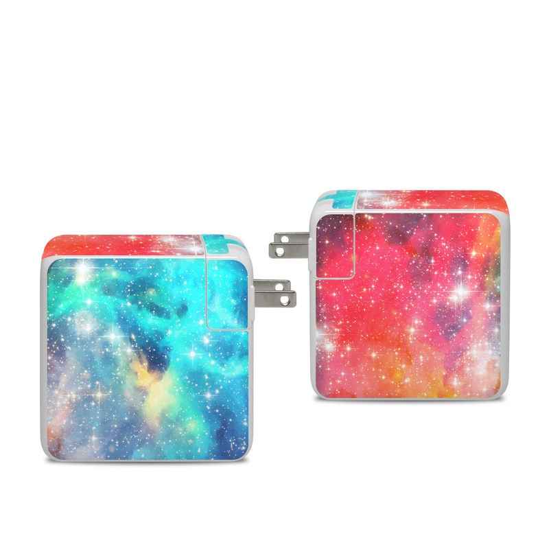 Apple 96W USB-C Power Adapter Skin design of Nebula, Sky, Astronomical object, Outer space, Atmosphere, Universe, Space, Galaxy, Celestial event, Star with white, black, red, orange, yellow, blue colors