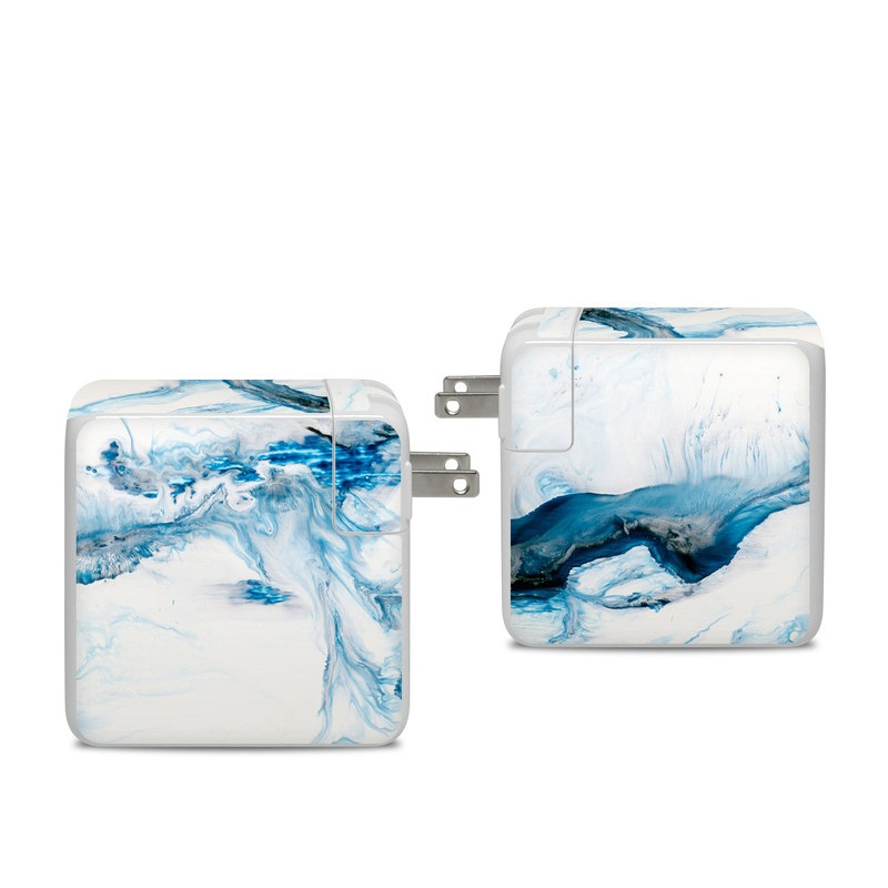 Apple 96W USB-C Power Adapter Skin design of Glacial landform, Blue, Water, Glacier, Sky, Arctic, Ice cap, Watercolor paint, Drawing, Art with white, blue, black colors