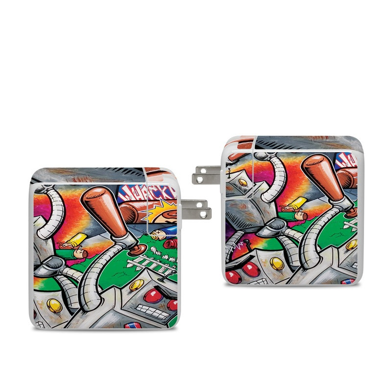 Apple 96W USB-C Power Adapter Skin design of Cartoon, Games, Art, Graffiti, Illustration, Technology, Visual arts, Mural, Fiction, Street art with gray, black, red, green, blue colors
