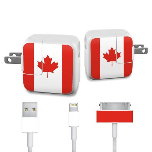 Canadian Flag iPad Power Adapter, Cable Skin
