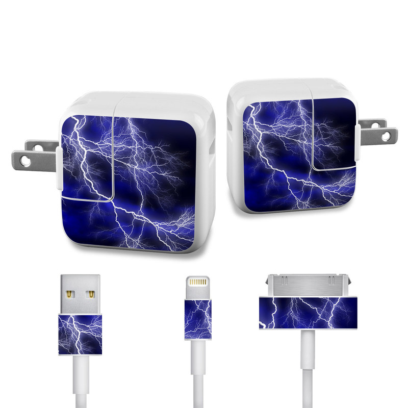 Apocalypse Blue iPad Power Adapter, Cable Skin