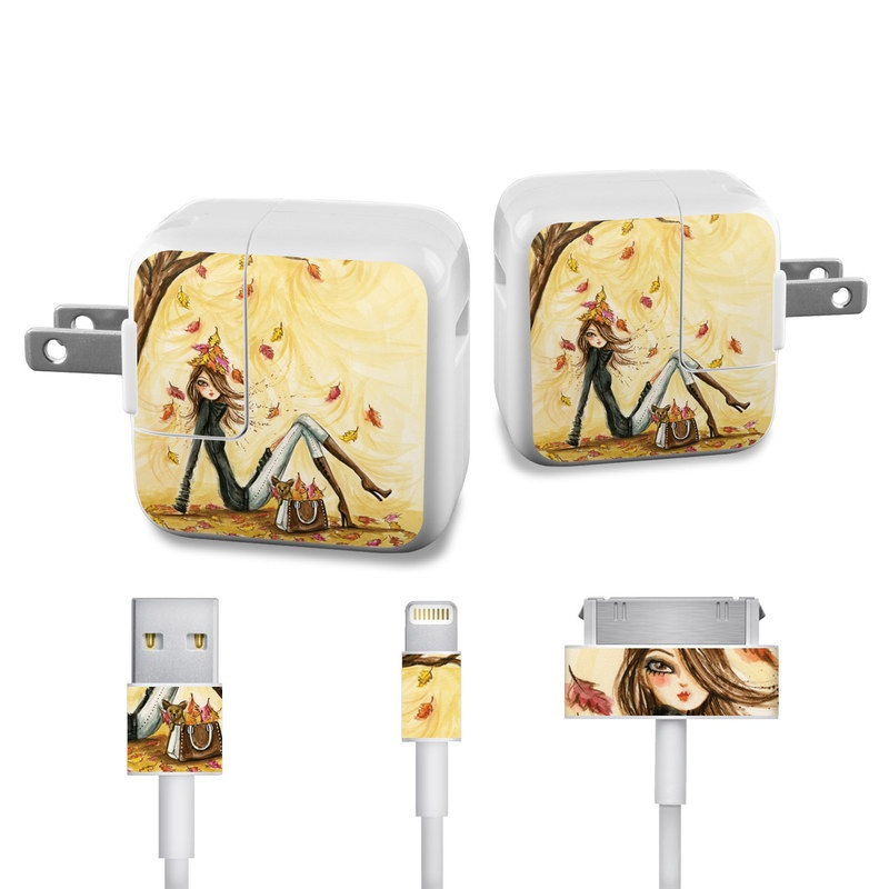 Autumn Leaves iPad Power Adapter, Cable Skin
