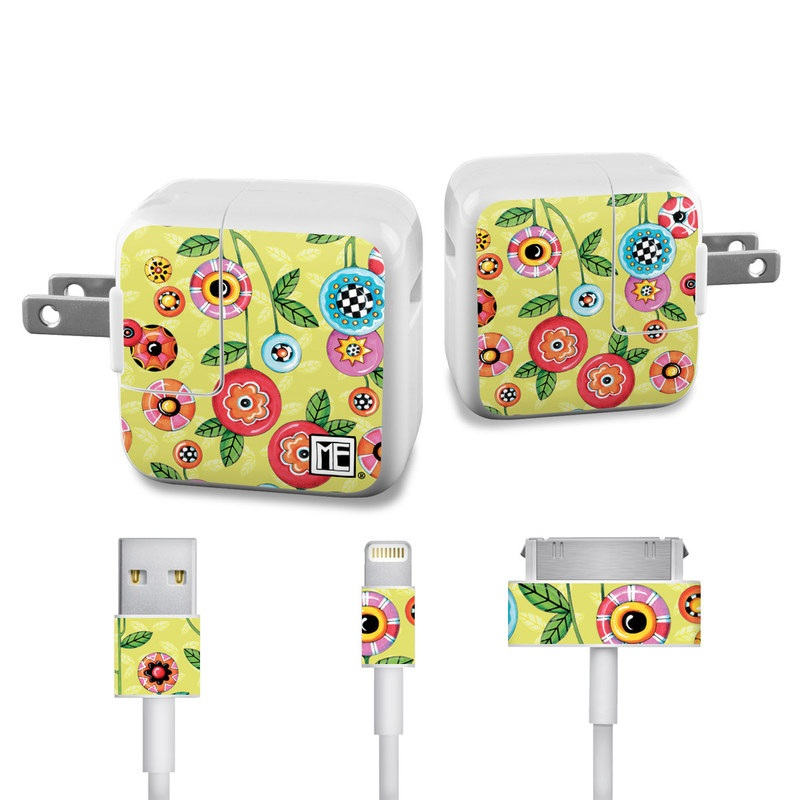 Button Flowers iPad Power Adapter, Cable Skin