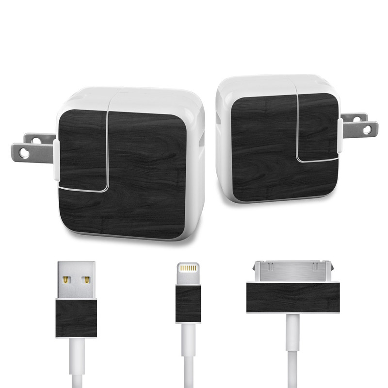 Black Woodgrain iPad Power Adapter, Cable Skin