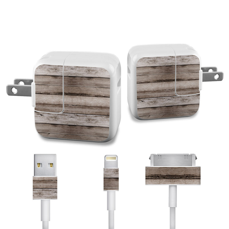 Apple 12W USB Power Adapter Skin design of Wood, Plank, Wood stain, Hardwood, Line, Pattern, Floor, Lumber, Wood flooring, Plywood with brown, black colors