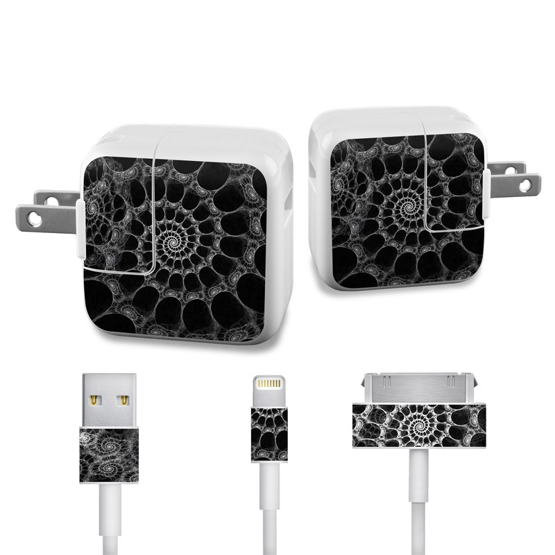 Apple 12W USB Power Adapter Skin design of Pattern, Monochrome, Black-and-white, Fractal art, Monochrome photography, Design, Textile, Organism, Photography, Symmetry with black, gray colors