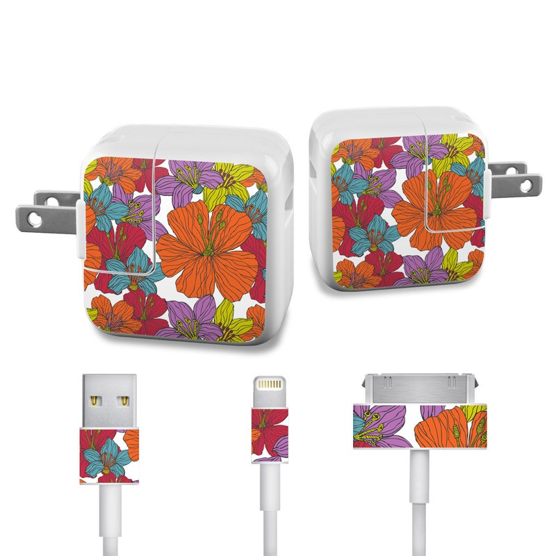 Apple 12W USB Power Adapter Skin design of Flower, Leaf, Plant, Pattern, Orange, Botany, Petal, Design, Wildflower, Clip art with orange, red, blue, purple, green colors