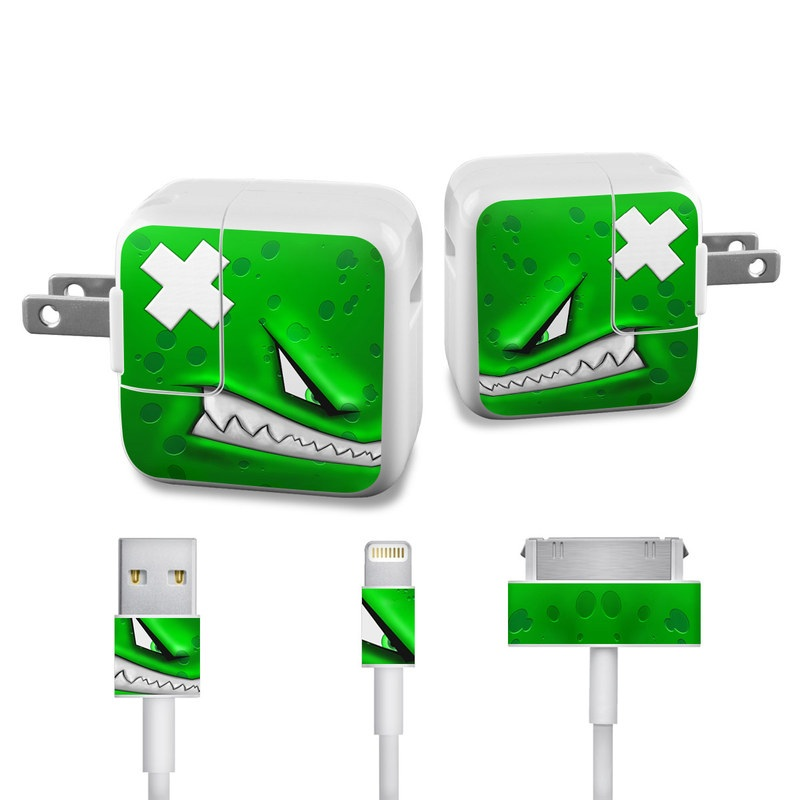 Apple 12W USB Power Adapter Skin design of Green, Font, Animation, Logo, Graphics, Games with green, white colors