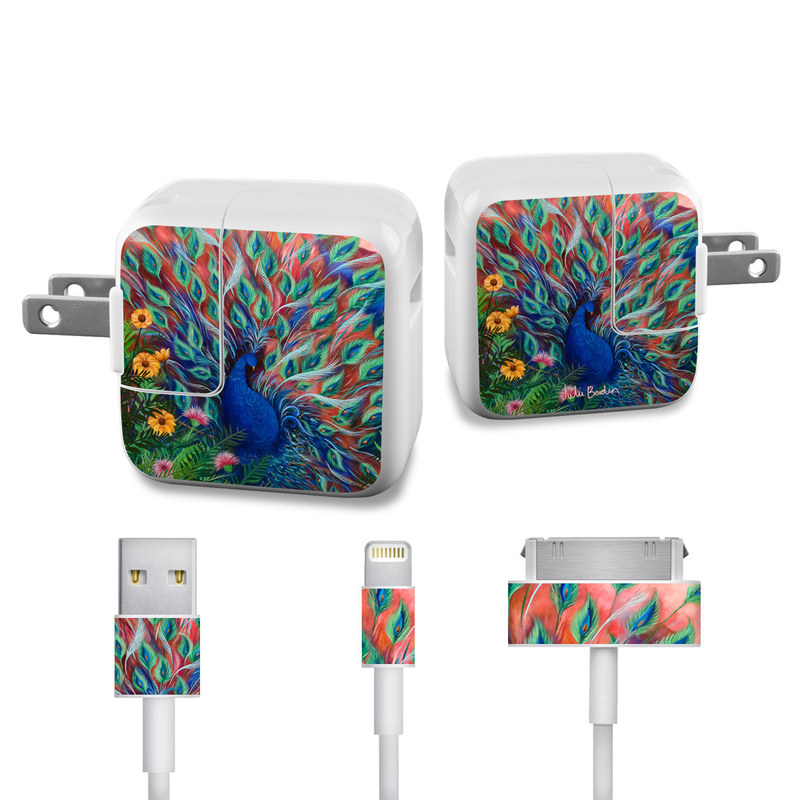 Coral Peacock iPad Power Adapter, Cable Skin