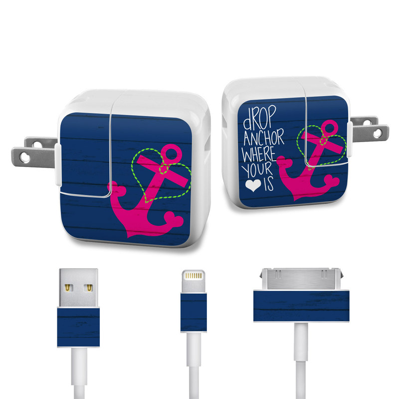 Apple 12W USB Power Adapter Skin design of Font, Text, Love, Heart, Illustration, Anchor, Graphic design, Gesture with black, purple, gray, red, blue, white colors