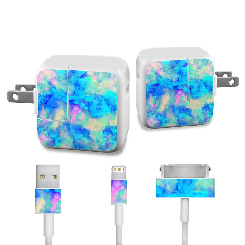 Apple 12W USB Power Adapter Skin design of Blue, Turquoise, Aqua, Pattern, Dye, Design, Sky, Electric blue, Art, Watercolor paint with blue, purple colors