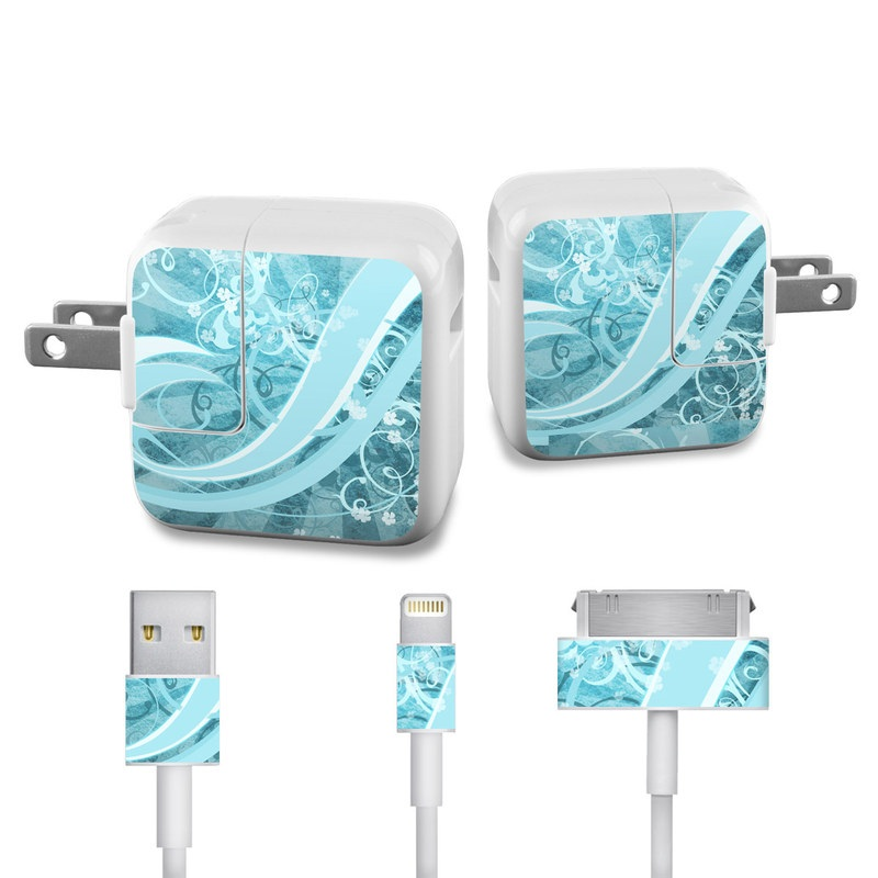 Flores Agua iPad Power Adapter, Cable Skin