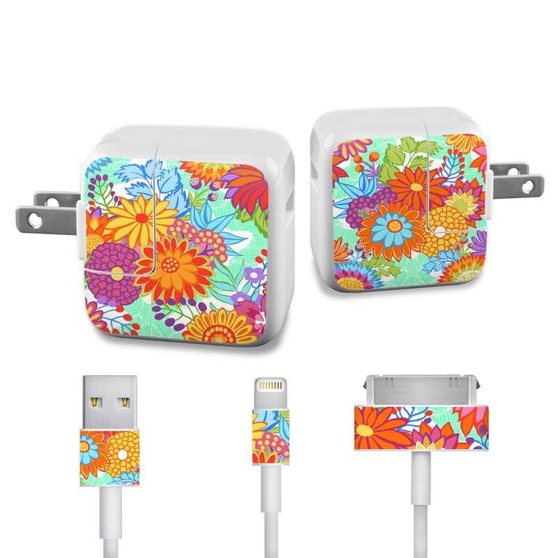 Jubilee Blooms iPad Power Adapter, Cable Skin