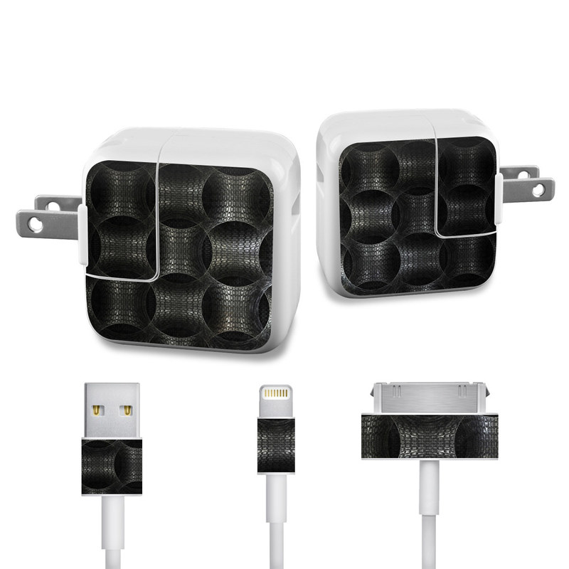 Apple 12W USB Power Adapter Skin design of Pattern, Metal, Pipe, Design, Steel, Monochrome, Symmetry, Circle, Mesh with black, gray colors