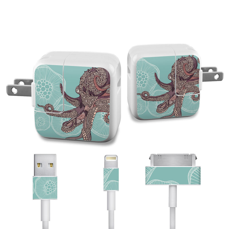 Apple 12W USB Power Adapter Skin design of Illustration, Art, Elephants and Mammoths, Pattern, Graphic design with gray, black, red, green colors