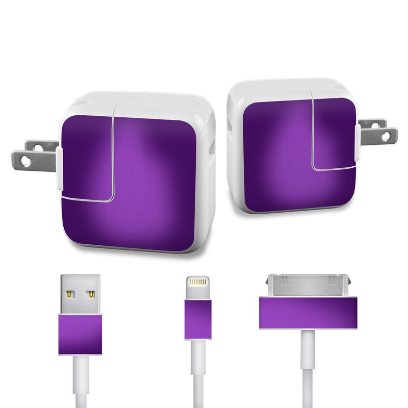 Apple 12W USB Power Adapter Skin design of Violet, Purple, Lilac, Pink, Magenta, Wallpaper with black, purple, blue colors