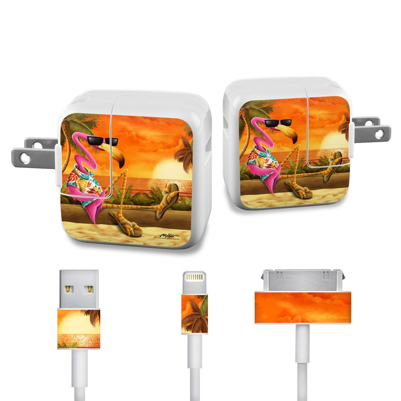 Sunset Flamingo iPad Power Adapter, Cable Skin