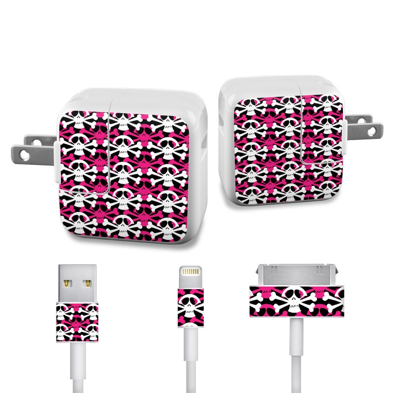 Skully Pink iPad Power Adapter, Cable Skin