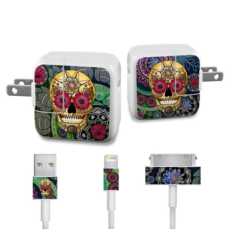 Sugar Skull Paisley iPad Power Adapter, Cable Skin