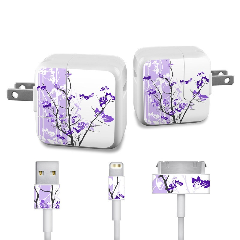Violet Tranquility iPad Power Adapter, Cable Skin