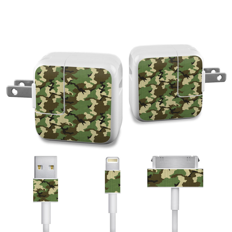 Woodland Camo iPad Power Adapter, Cable Skin